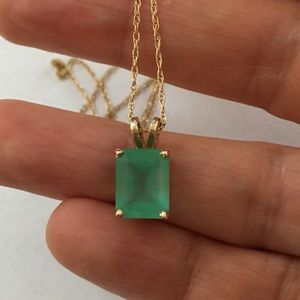 Genuine emerald solid 14k gold pendant & chain